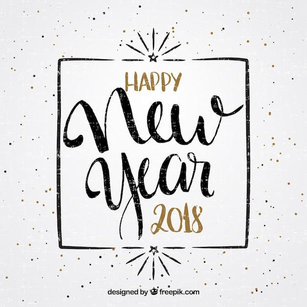 Beautiful new year lettering in vintage style Vector   Free Download