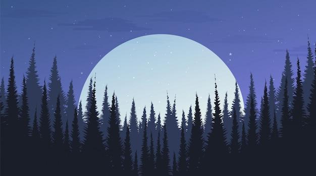 月、風景の背景、夜のコンセプトを持つ美しい夜の松林 Premiumベクター