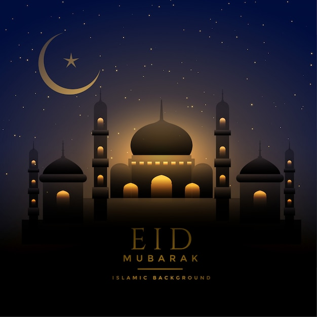 Beautiful night scene eid background with mosque and moon Free Vector