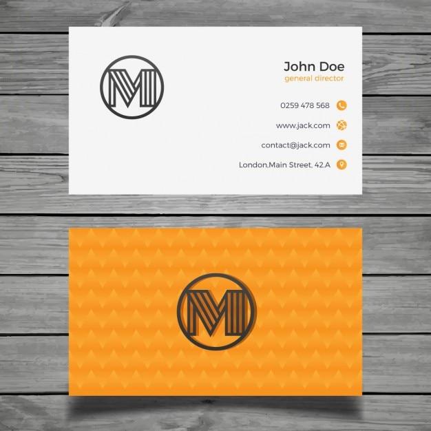 Beautiful orange business card Free Vector