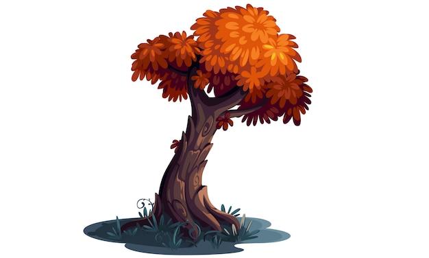 Beautiful orange colored tree concept art Premium Vector
