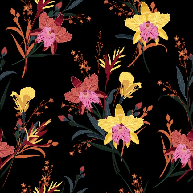 Beautiful of orchids floral in the garden night seamless pattern Premium Vector