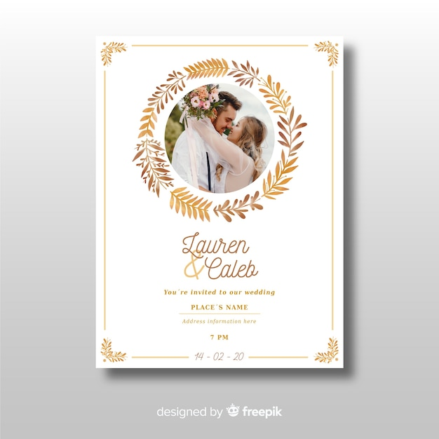 Beautiful ornamental wedding invitation template with photo Free Vector