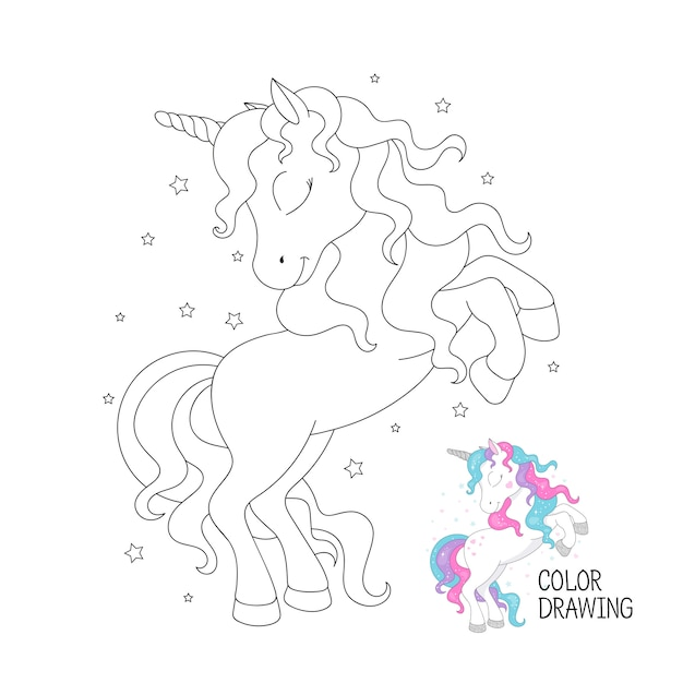 Beautiful outline unicorn. coloring page for children. Premium Vector