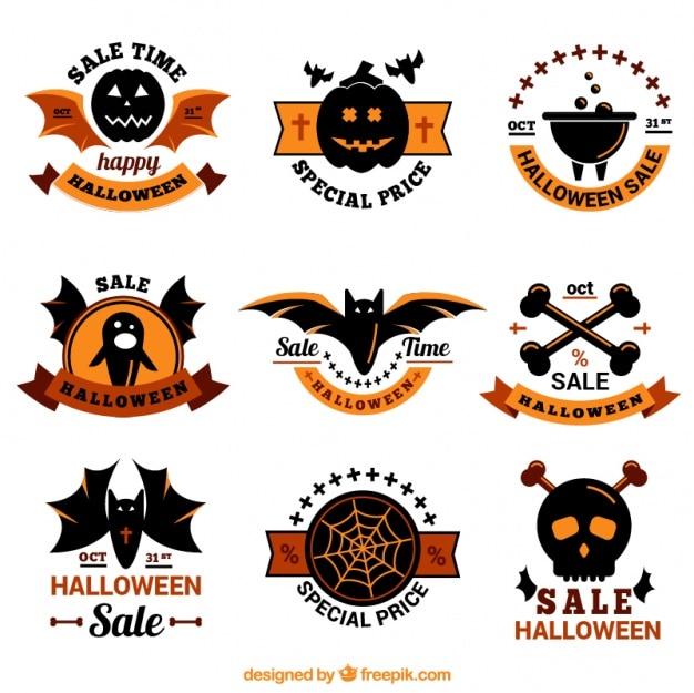 Beautiful pack of halloween stickers with special offers Free Vector