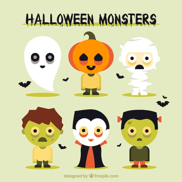 Beautiful pack of halloween monsters Vector | Free Download