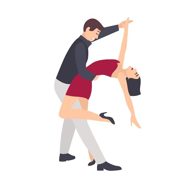Beautiful pair of woman in red dress and elegant man dancing salsa Premium Vector