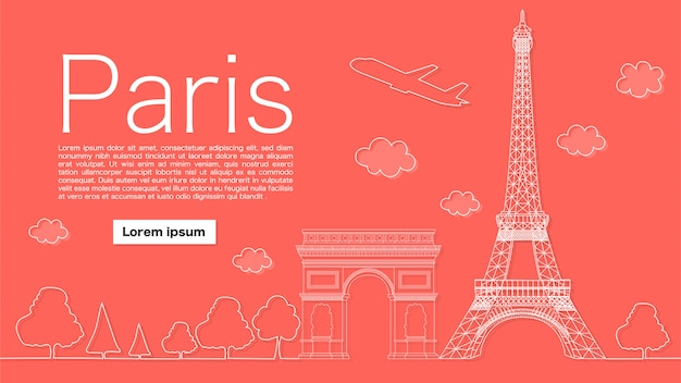 Beautiful paris banner Premium Vector