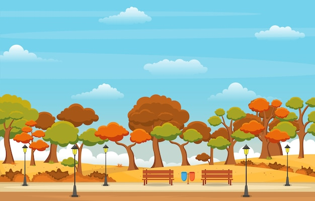 Beautiful park garden in fall autumn with tree sky landscape illustration Premium Vector