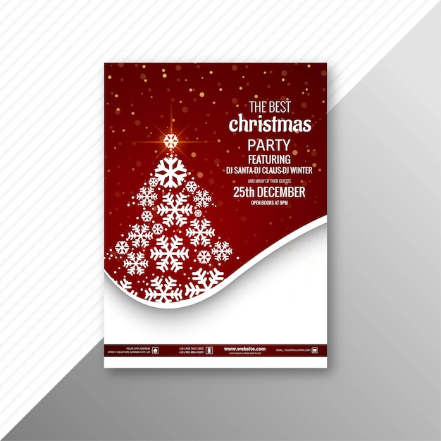 Beautiful Party Marry Christmas Brochure Template Vector Free Download