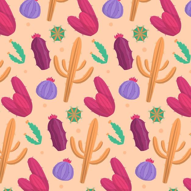カラフルなサボテンと美しいパターン 無料ベクター