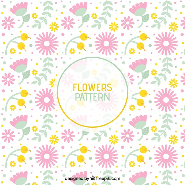 Beautiful pattern with flowers in pastel colors vector for Beautiful pastel colors
