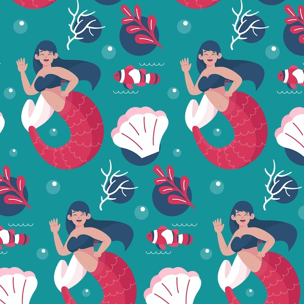 Beautiful pattern with mermaid swimming Free Vector