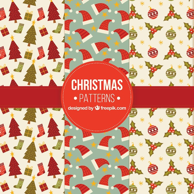 Beautiful patterns pack of retro christmas elements