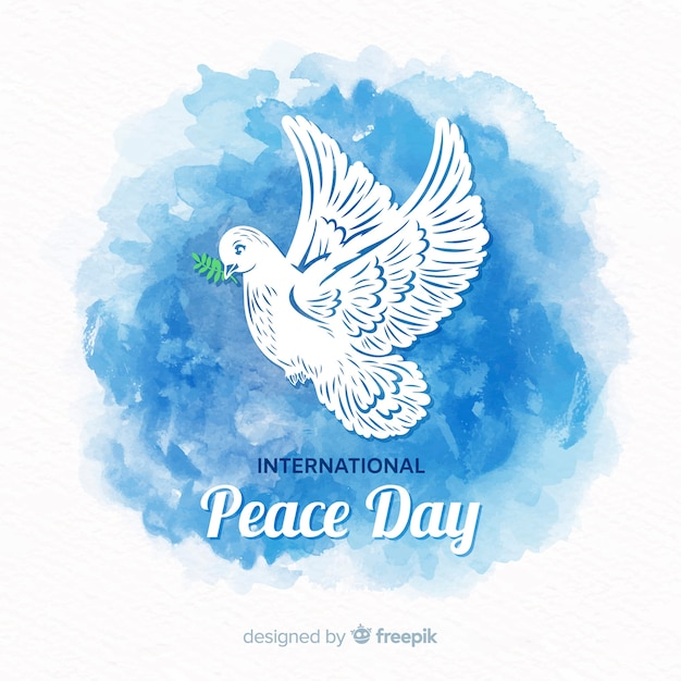 Beautiful peace day background with watercolor  dove Free Vector