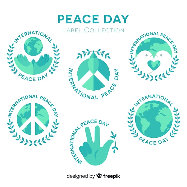 Beautiful peace day labels Free Vector