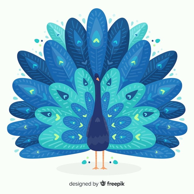 Beautiful peacock design Free Vector