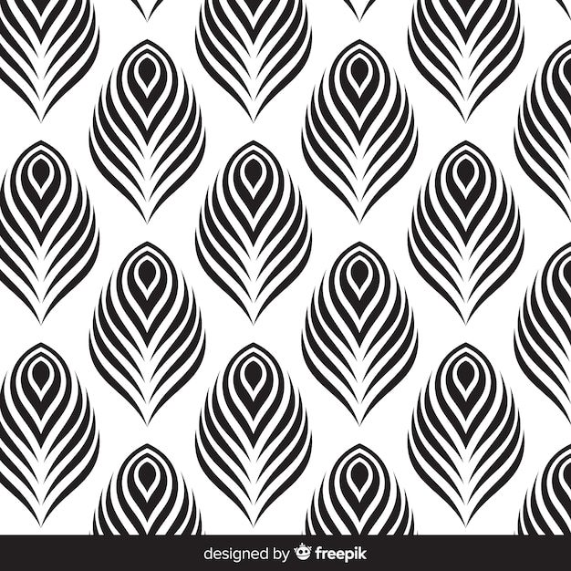 Beautiful peacock feather pattern design Free Vector