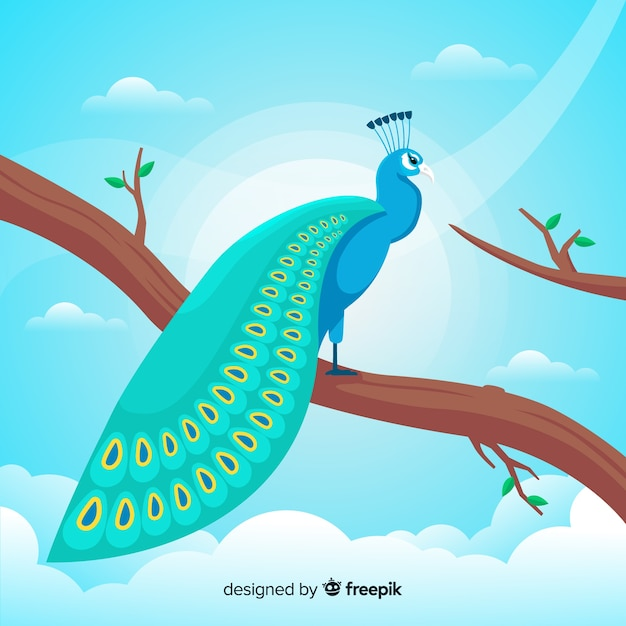 Beautiful peacock in flat style Free Vector