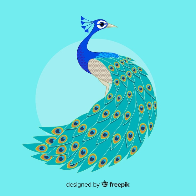 Beautiful peacock in hand drawn style Free Vector