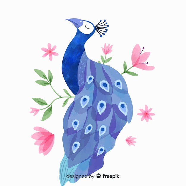 Beautiful peacock in watercolor style Free Vector