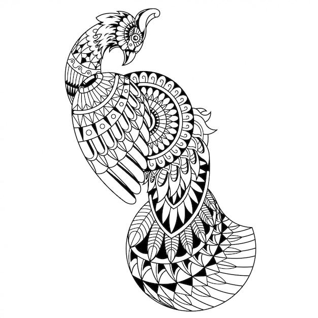 美しい孔雀マンダラzentangle直線的なスタイル Premiumベクター