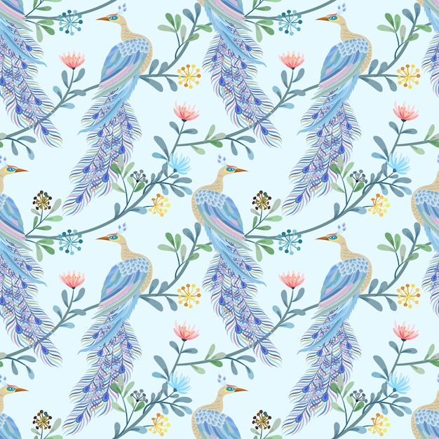 Beautiful peacock seamless pattern. Premium Vector