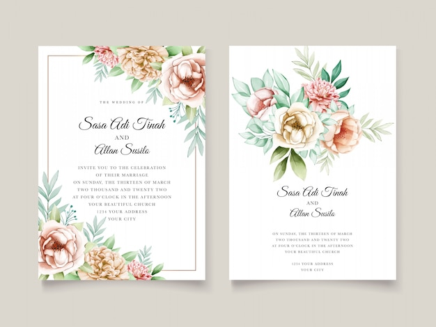 Beautiful peony blooming flower watercolor wedding cards template Free Vector