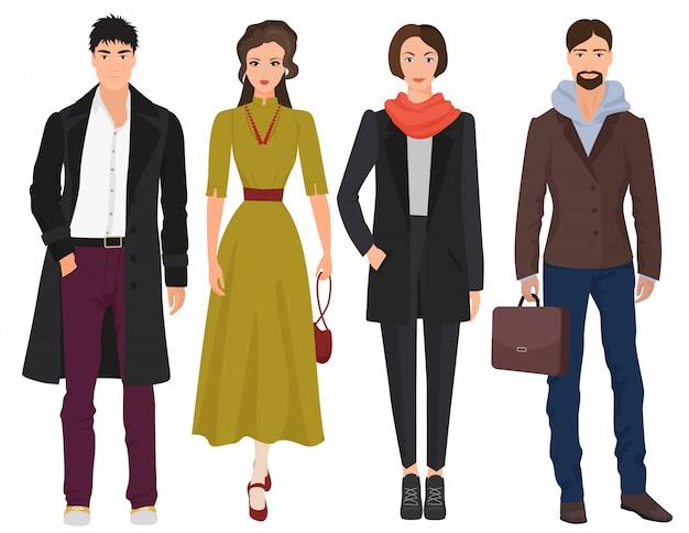 Beautiful people in autumn spring clothes Premium Vector