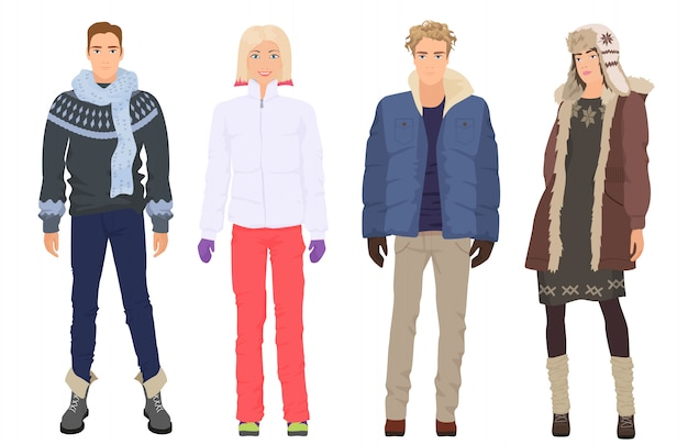 Beautiful people in winter warm casual clothes Premium Vector