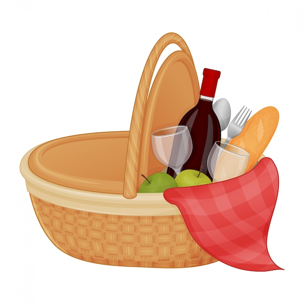 Premium Vector Beautiful Picnic Basket With Accessories On A White Background Isolated Object On A White Background Summer Cartoon Style Object For Packaging Advertisements Menu