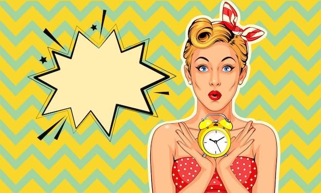 Beautiful pin up model with alarm clock  in pop art style Premium Vector