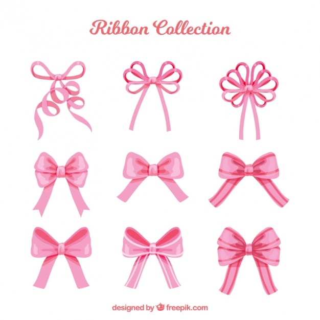 Beautiful pink decorative bows pack Free Vector