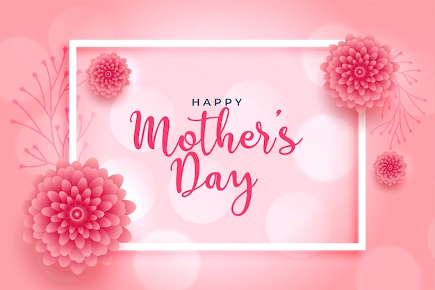 Beautiful pink flower mothers day wishes card Free Vector