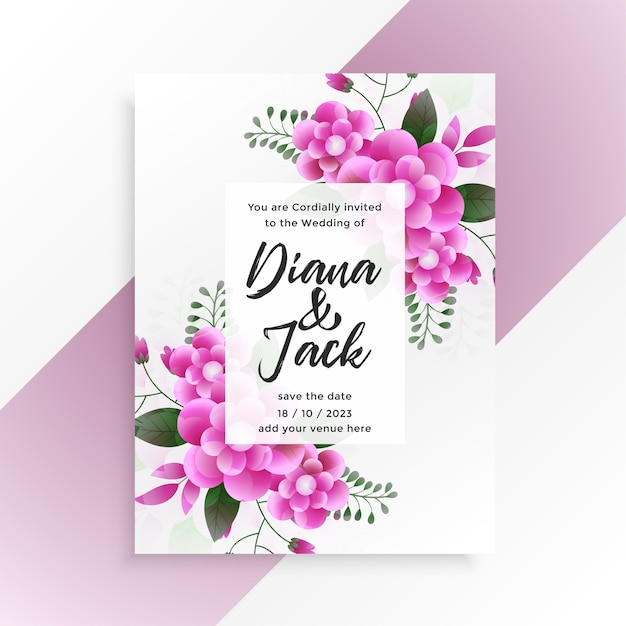 Beautiful pink flower wedding invitation template design Free Vector