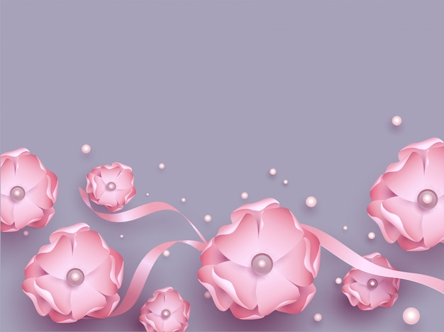 Beautiful pink flowers with ribbon and pearls decorated on purpl Premium Vector