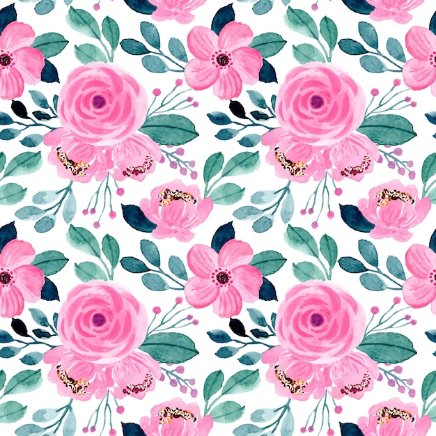Beautiful pink and green floral watercolor seamless pattern Premium Vector