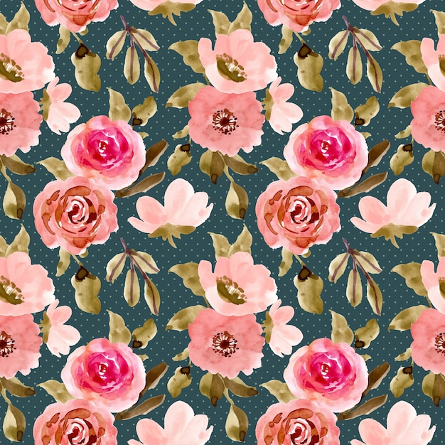 Beautiful pink green flower watercolor seamless pattern Premium Vector