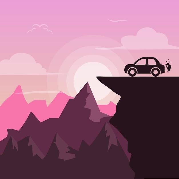 Beautiful pink landscapeactus - flat illustration Premium Vector