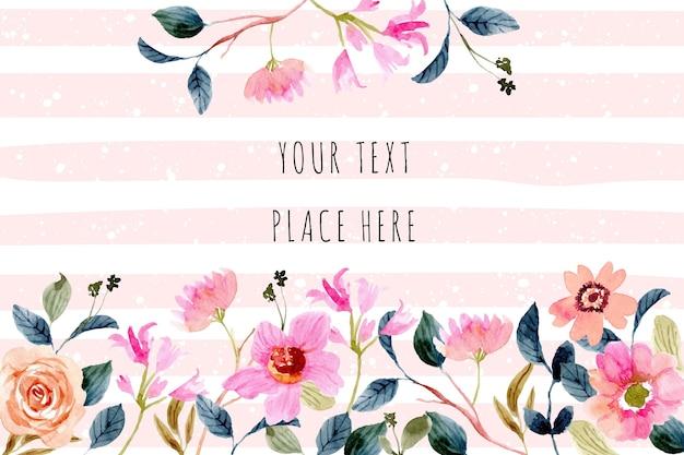 美しいピンクの桃の花の水彩画の背景フレーム Premiumベクター