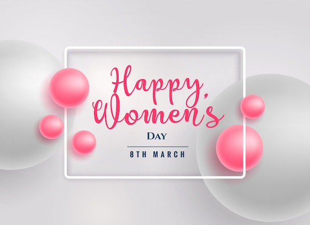 Beautiful pink pearls happy women's day background Free Vector