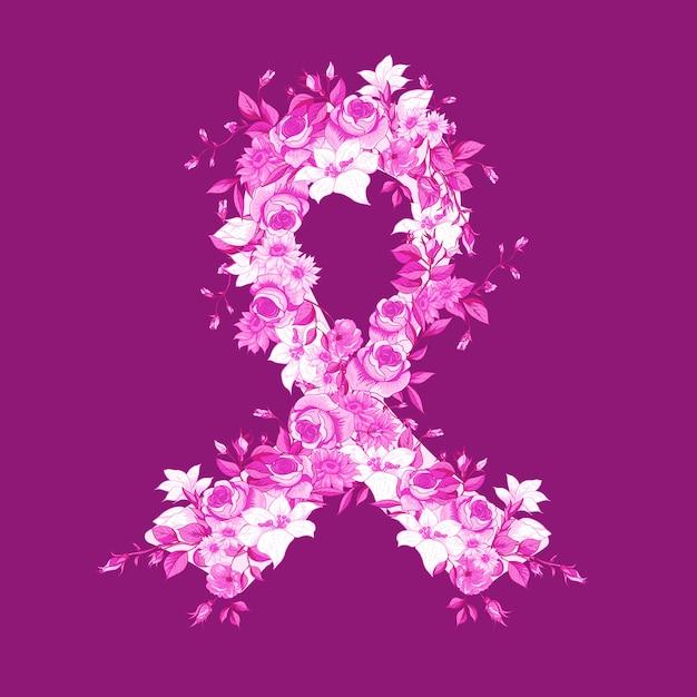 Beautiful pink ribbon of flowers Premium Vector