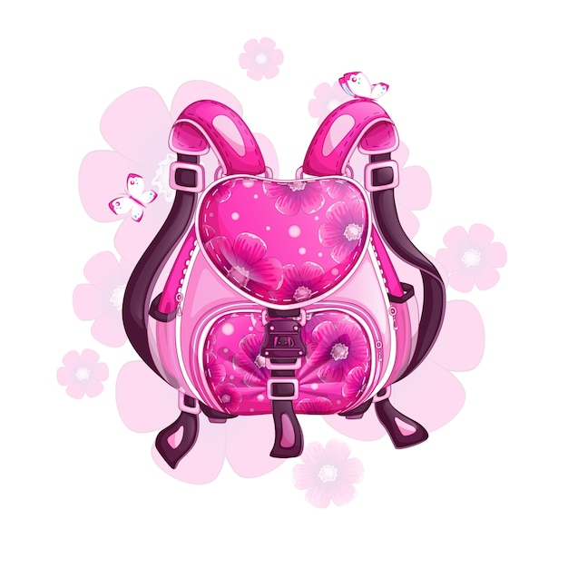 Beautiful pink sports backpack with a floral design. Premium Vector