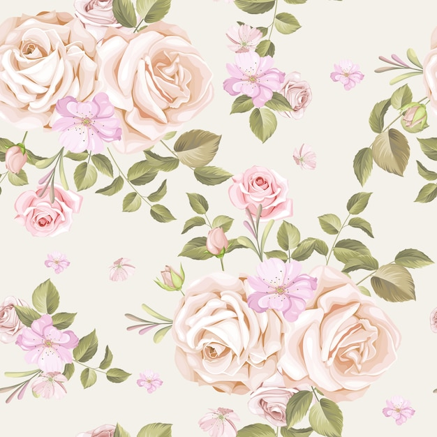 Beautiful pink and white roses seamless pattern Premium Vector