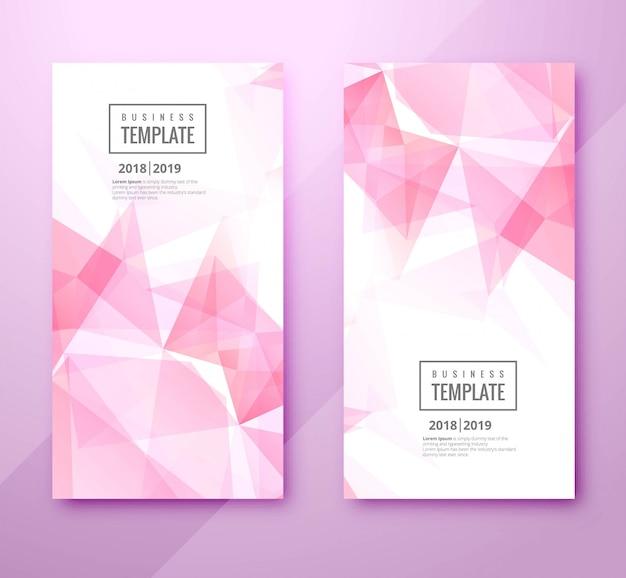 Beautiful polygon business template set design Free Vector