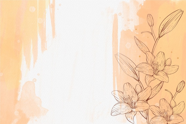 Beautiful powder pastel with hand drawn plants background Free Vector