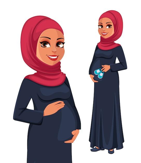Красивая беременная мусульманка в хиджабе Premium векторы