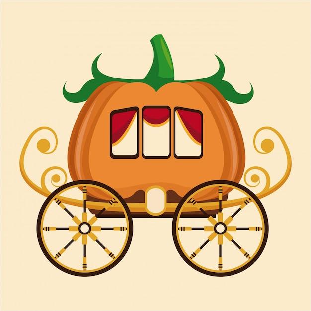 Beautiful pumpkin carriage wheel gold Premium Vector