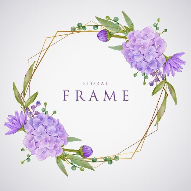 美しい紫色のアジサイ水彩ゴールデンフレーム Premiumベクター