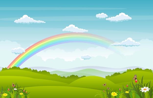 Beautiful rainbow sky with green meadow mountain nature Premium Vector
